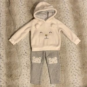 Carter's polar bear hoodie and sweatpants 18M